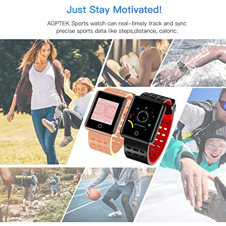 AGPTEK Bluetooth Smartwatch for Women, Sport Fitness Tracker IP67 Waterproof with Heart Rate, Blood Pressure, Sleep Monitor, Calorie Burn Counter, ...