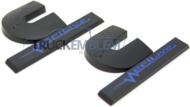 2 Matte Black /& Gloss Blue Cummins Turbo Diesel EFI LIVE Emblems Badges Set 2500 3500