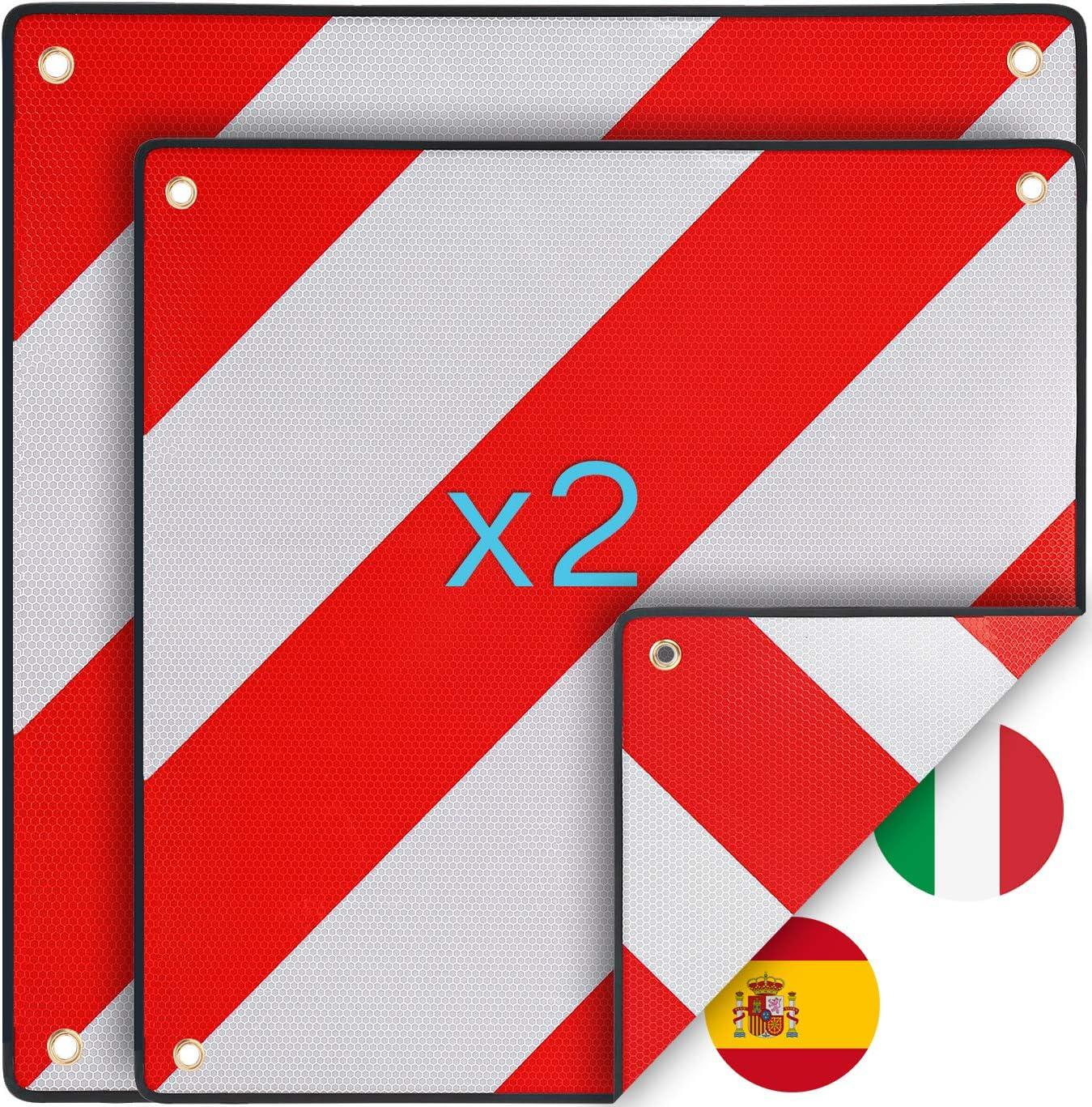 Warntafel Italien Und Spanien 2stück 2in1 50 X 50 Cm Reflektierendes Warnschild Rot Weiß Für Heckträger U Fahrradträger Auto