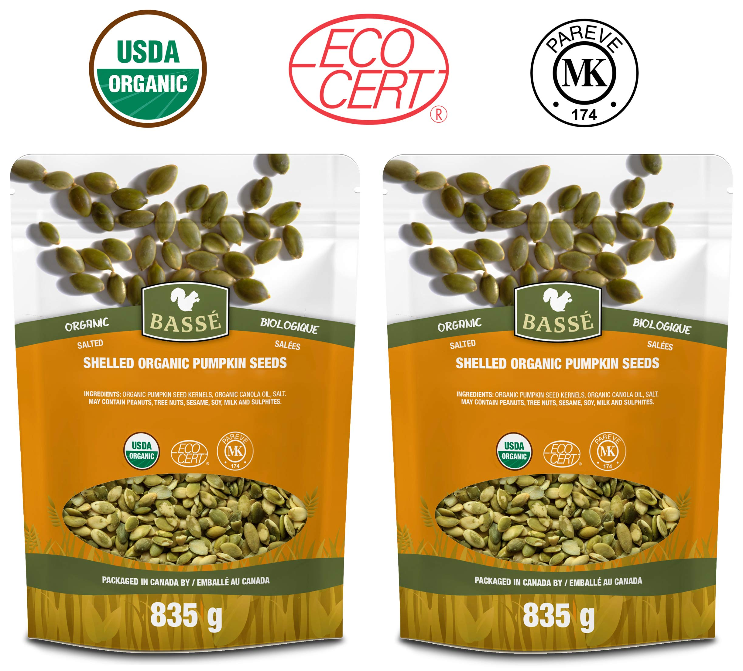 Basse Organic Pumpkin Seeds Kernels Nutritious, Salted, Wholesome, Superfood Snack 2 x 30oz
