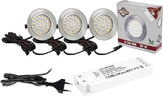 3x 2,2W 12V Led Leuchten Set Möbellampen Unterbau Strahler Möbelleuchten Spots