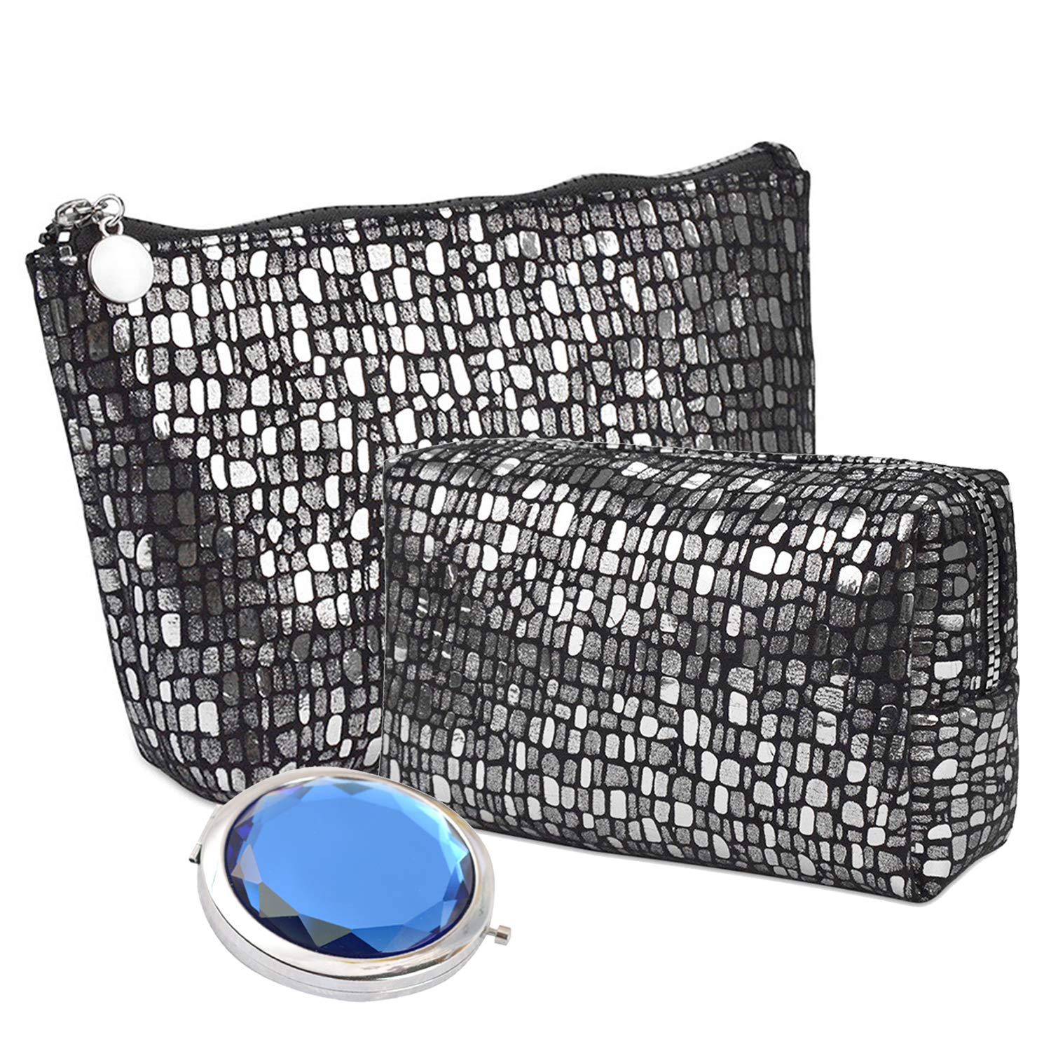2 Pcs Sequin Printing Cosmetic Bags with Portable Mirror for Women Girls Glitter Makeup Pouch Set Shiny Evening Clutch Purse with Silver Zipper (Black)