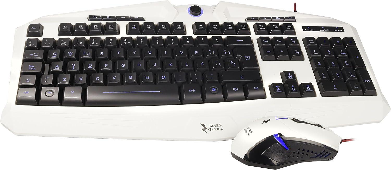 Mars Gaming MCPZE1 - Combo gaming de teclado y ratón (teclado RGB 7 colores, 12 teclas multimedia, layout ES, sensor óptico 2800 DPI, 6 botones gaming) color blanco y negro