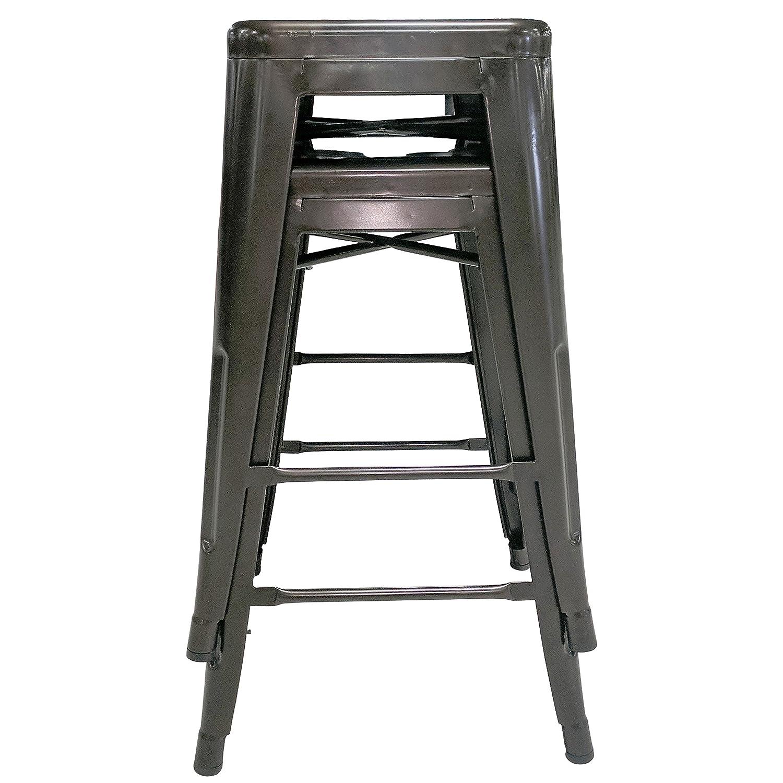 Titan 24 Modern Metal Stacking Counter Bar Stool – Set of 2 Bronze