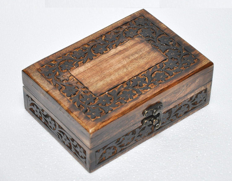 Size:18x12.5x7 CM Wooden Decorative Brass /& Copper Inlaid Floral Indian Teak Wood Table Top Decor Jewellery Keepsake Organiser Gift Box