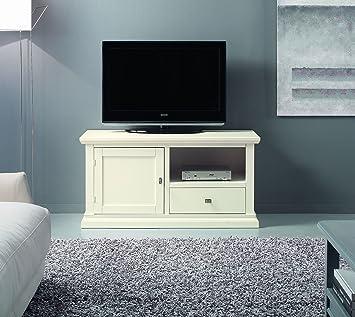 Base porta Tv in legno, finitura latte, pannellata – 109x55 cm ...