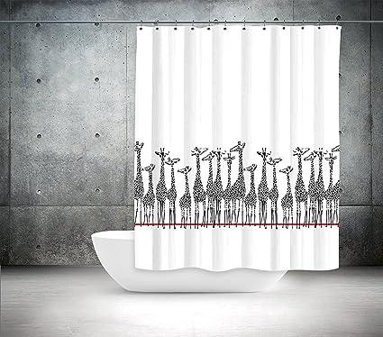 Amazon.com: Black and White Shower Curtain Fabric - Zoo Giraffe ...