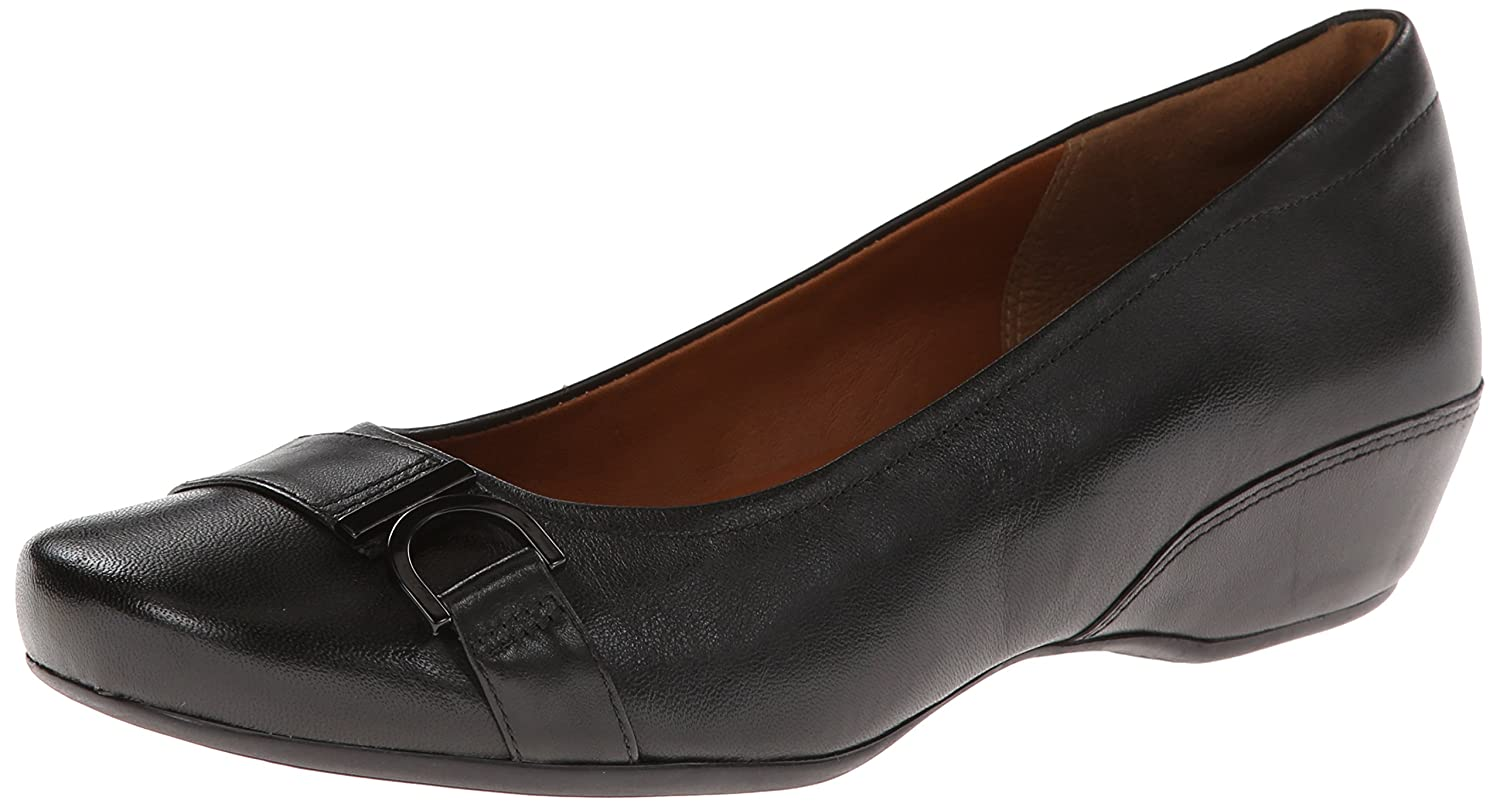 CLARKS Women's Concert Band Wedge Pump B00HRB72PQ 8 W US|Black Leather