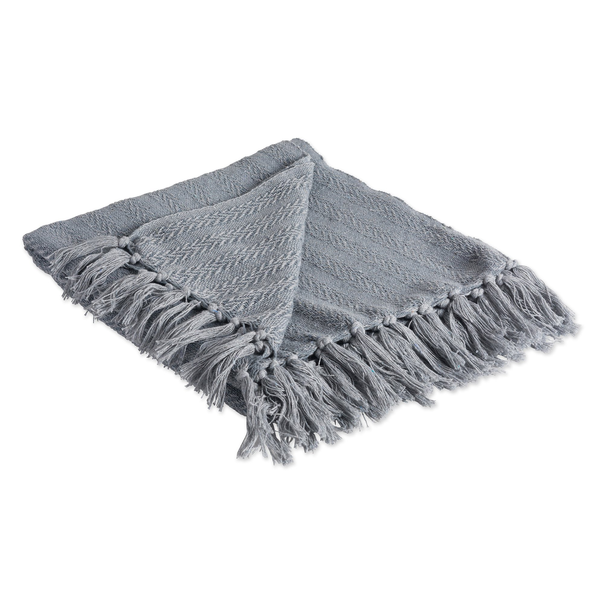 DII Rustic Farmhouse Cotton Textured Blanket Throw with Fringe for Chair, Couch, Picnic, Camping, Beach, Everyday Use, 50 x 60 - Solid Textured Cool Gray