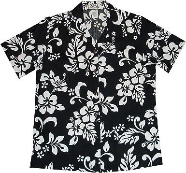 KYS Hawaiian Mens Button Up Shirt Blue Hibiscus Floral Lei Print