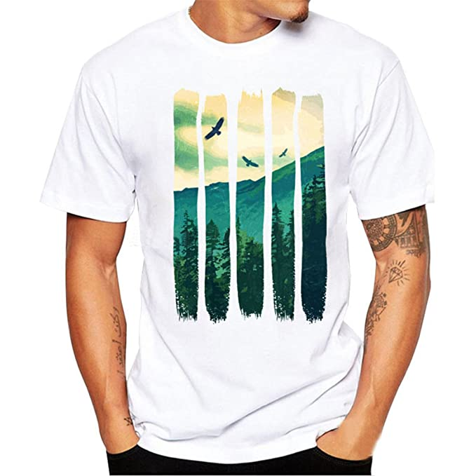 Camiseta Para Hombre,Longra ★ Hermoso Patrón de Paisaje Camisetas Deporte Ropa Deportiva de Manga Corta T Shirt Blusa