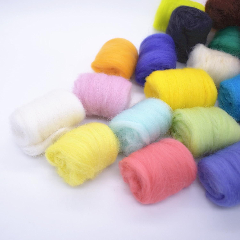 Lana de Fieltro 24 Colores TICOSH Hilo de Lana para Afieltrar Mano Spinning DIY