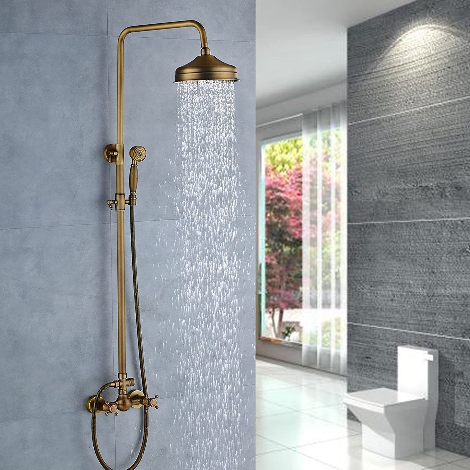 Senlesen Antique Brass Bathtub Mixer Faucet 8-inch Rainfall Shower ...