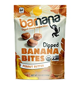 Barnana Organic Chewy Banana Bites - Peanut Butter - 3.5 Ounce, 3 Pack Bites - Delicious Potassium Rich Banana Snacks - Lunch Dinner Sports Hiking Natural Snack - Whole 30, Paleo, Vegatarian
