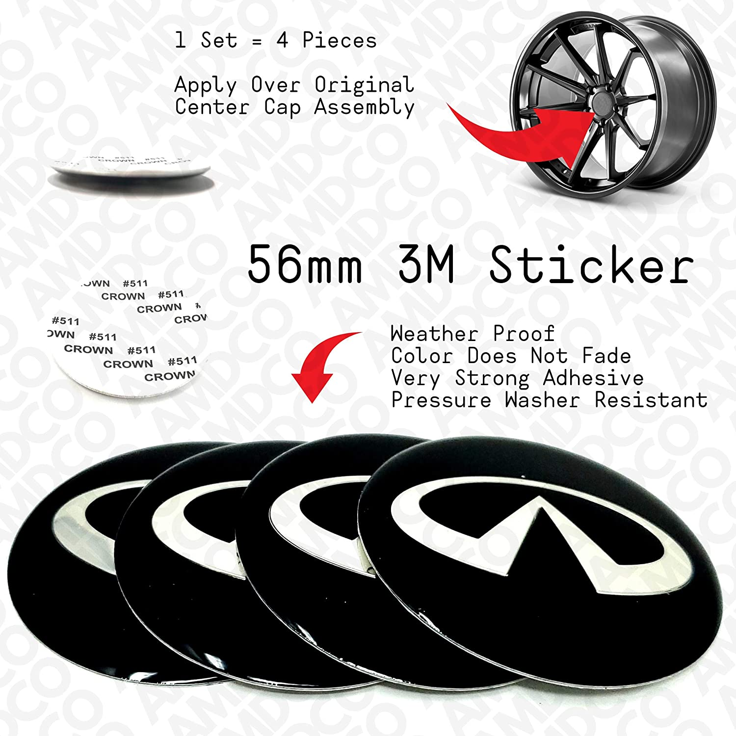 65MM CHROME pack of 4 AMD 65MM AMG Emblem Badge Stickers Decals with Strong 3M Includes instructions MEASURE Before Purchase Fitment Top Quality fit For BENZ AMG etc