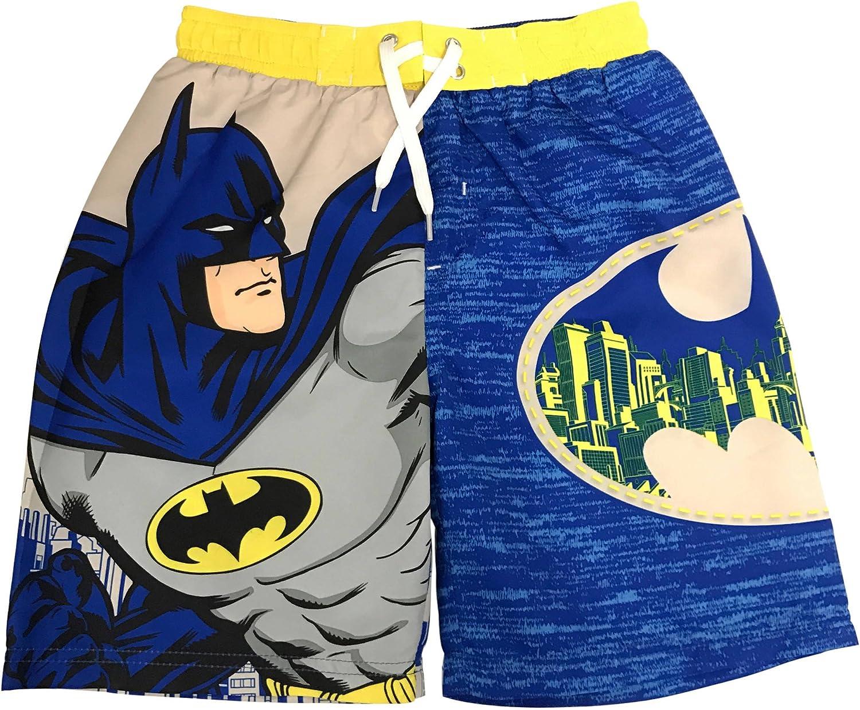 DC Comics Batman Swim Trunks All Over Logo Design Boardshorts for Boys