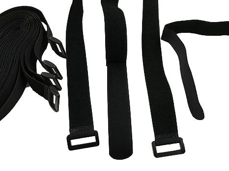 10x 40cm correas con cierre velcro cinturón multiuso cinto para amarrar y almacenar, con ojal o hebilla, práctica como alargador, 100 % nailon, la ...