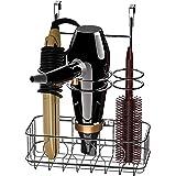 SimpleHouseware Cabinet Door / Wall Mount Hair Dryer & Styling Tools Organizer Storage, Chrome