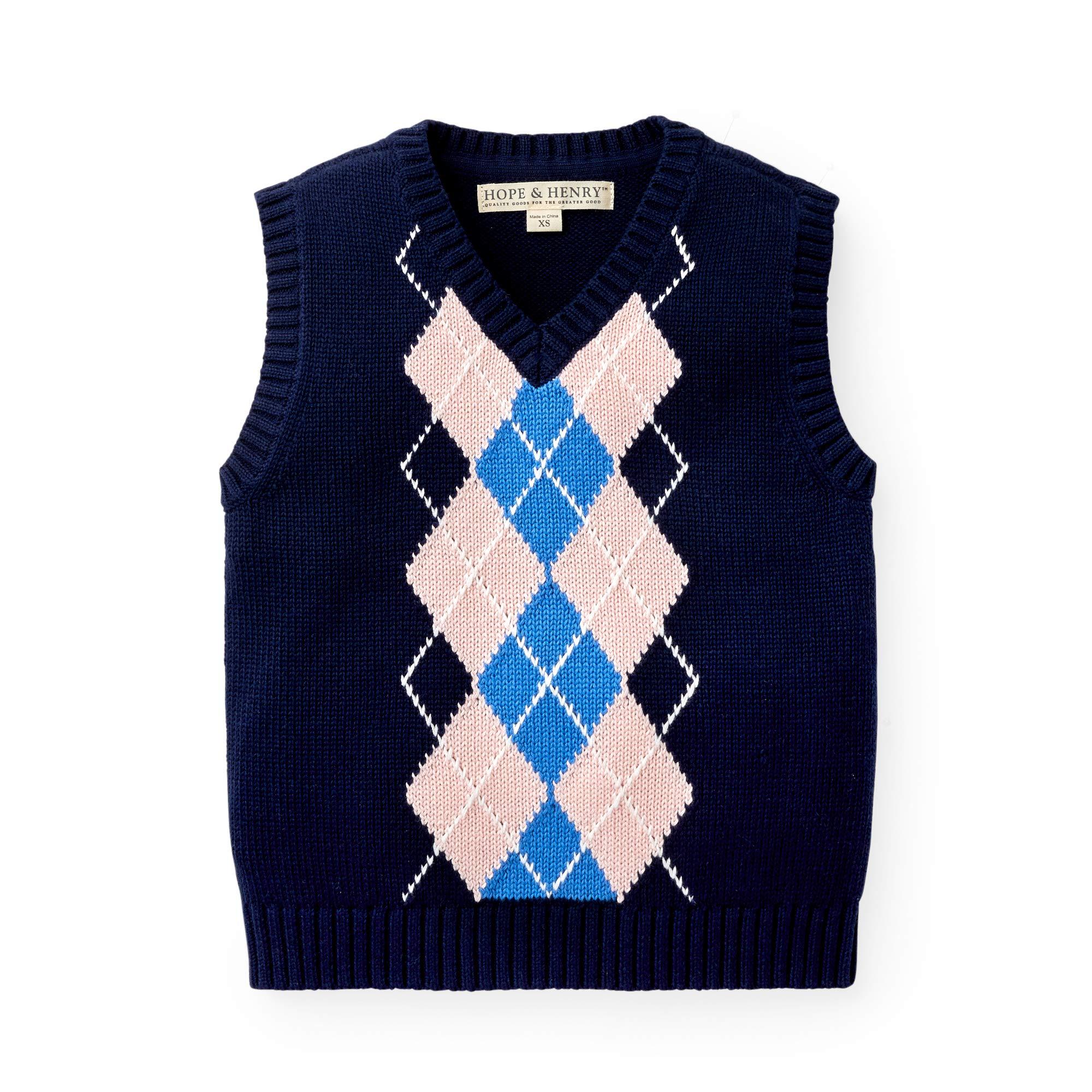 Hope & Henry Boys' Navy Argyle Cable Sweater Vest