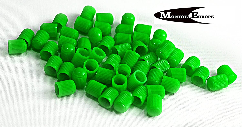 MontoyaEurope Lot de 20 valves Capuchons Anti-poussi/ère Couleur en Plastique Vert