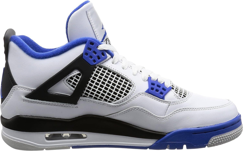 NIKE Chaussures Homme AIR Jordan 4 Retro en Cuir Blanc avec détails Noirs et Bleus 308497 117