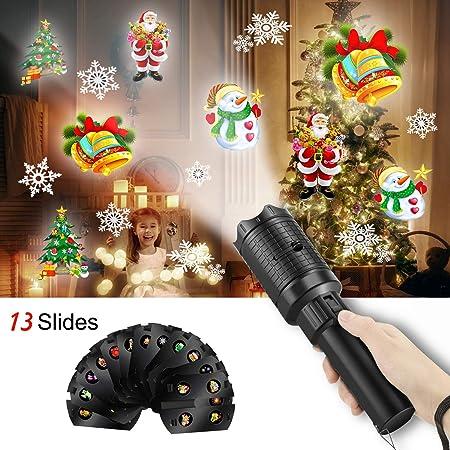 BAOHUA Proyector de Navidad con Luces LED de Mano, 13 Diapositivas ...
