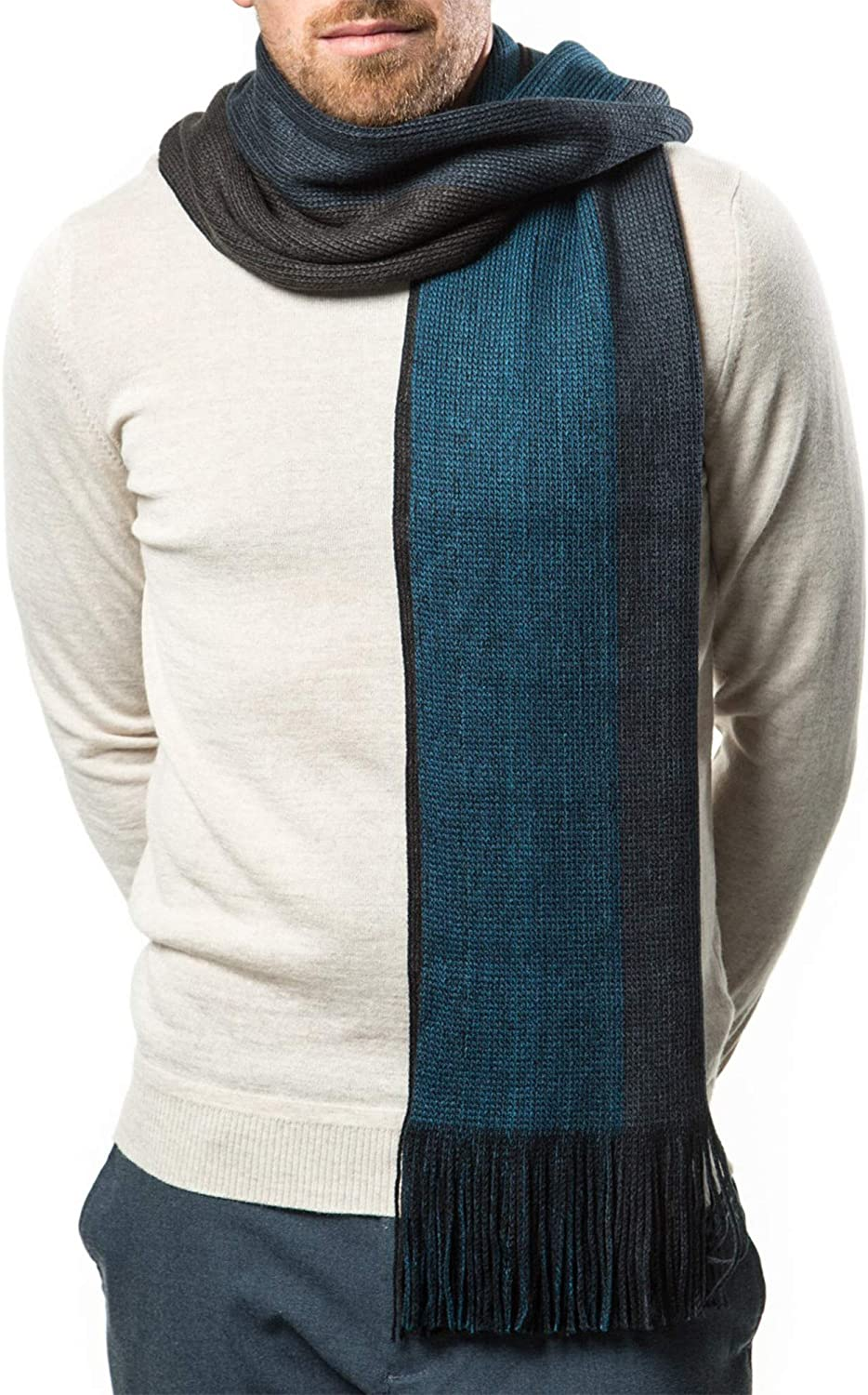 Mens Scarf, Knit Striped Scarf, Long Winter Mens Scarves In An Elegant Gift  Box - Azure Ash - One Size at Amazon Men's Clothing store