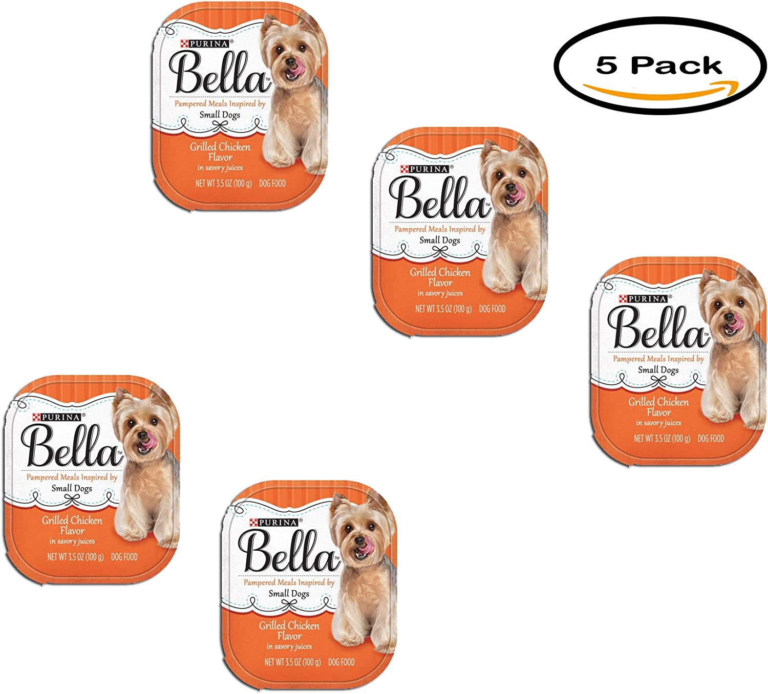 PACK OF 5 - Purina Bella Grilled Chicken Flavor in Savory Juices Adult Wet Dog Food Case of 12- 3.5 oz. Trays