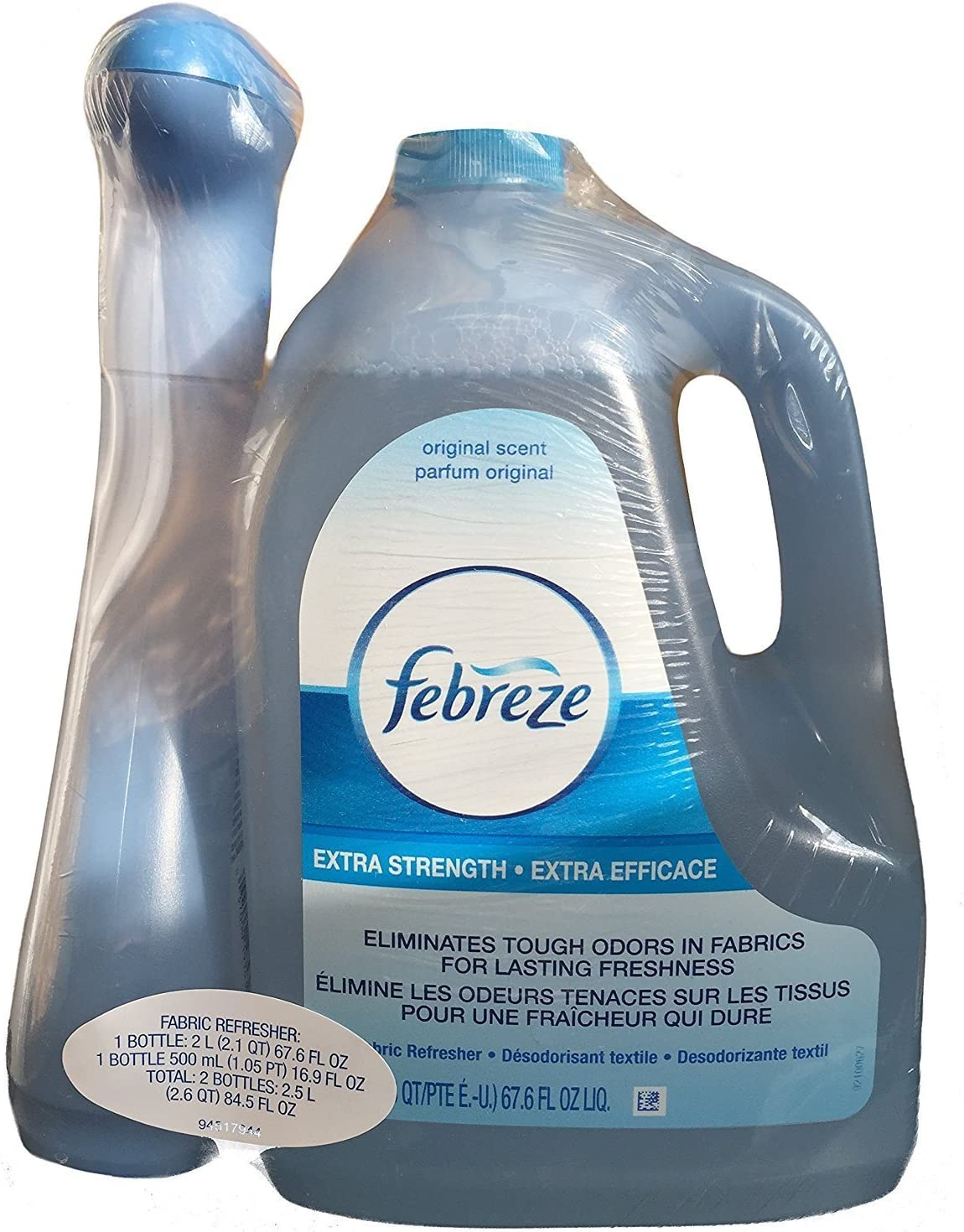 Febreze Extra Strength Fabric Refresher Value Pack 16.9 oz Spray With 67.6 oz Refill Bottle