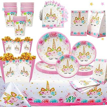 Amazon.com: Juego de suministros para fiestas de unicornio ...