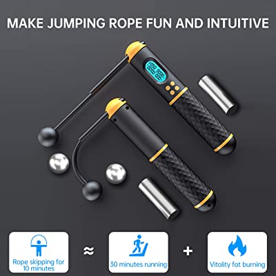 Adjustable Cordless Jumping Rope with Latex Workout Bands for Home Fitness Exercise Training for Women Men VANCOK Digital Weighted Ropeless skipping Rope with 5 Pcs Resistance Loop Bands Jump Rope