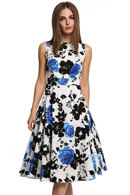 94273ebcc Acevog Mujer Vintage Vestido Años 50 Falda Impresión Floral Sin Mangas  Vestidos de Fiesta