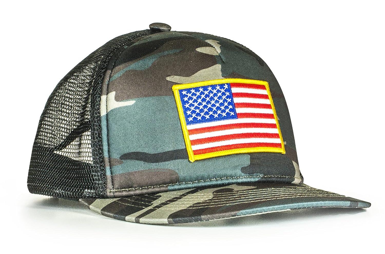 78bfc03d81a Cowbucker USA Camo Trucker Hat w American Flag (Mesh Snapback Baseball Hat)  at Amazon Men s Clothing store