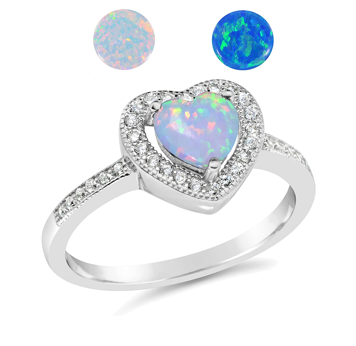 De Lelu Sterling Silver CHOOSE YOUR COLOR Synthetic Opal Cz Heart Ring