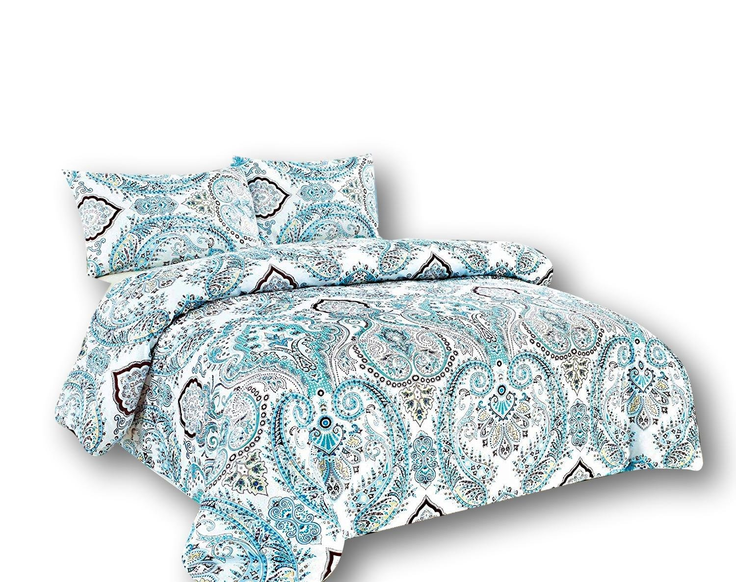 Tache White Blue Paisley Damask Duvet Cover - Frozen Forest - Luxurious Cotton Duvet Cover With Zipper and Security Ties/Ribbons - 3 Piece Set - Queen