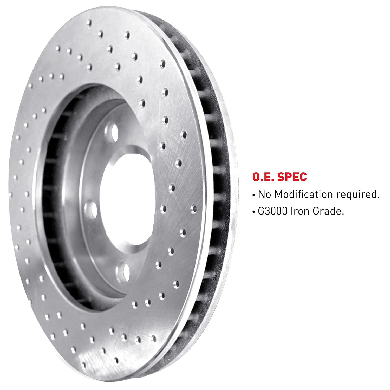 FRONT eLine Cross-Drilled Brake Rotors /& Heavy Duty Brake Pads FEX.65132.04
