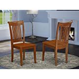 East West Furniture POC SBR W Portland dining chairs Wooden Seat and Saddle Brown Hardwood Structure dining chair set of 2