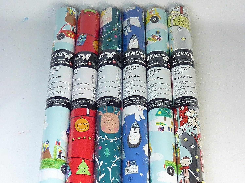 extra resistente ottima qualit/à STEWO 131235-4 rotoli di carta da regalo natalizia per bambini 200 x 70 cm
