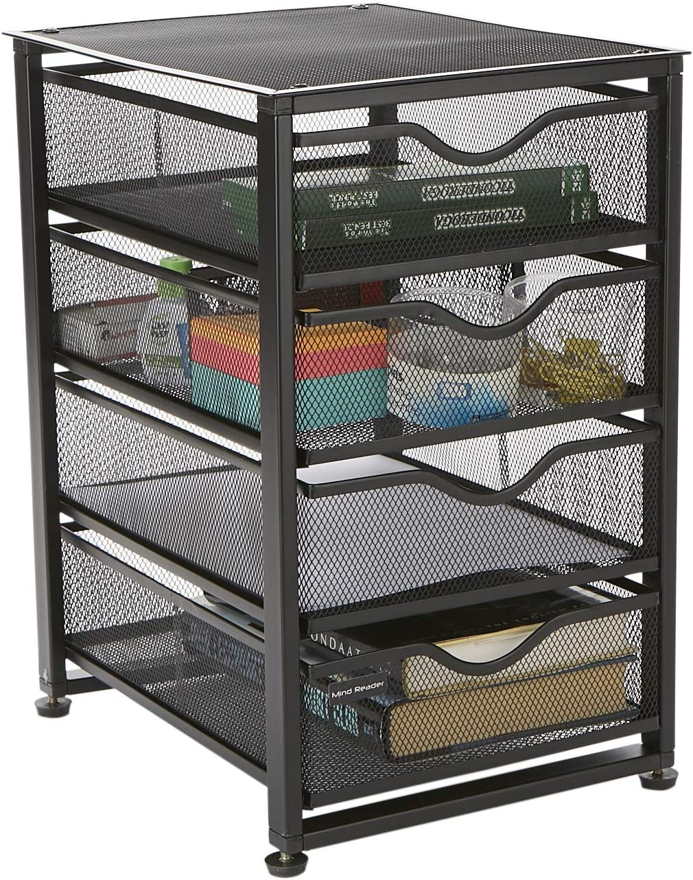 Mind Reader 4TMCA-BLK 4-Tiered Cabinet, Rolling Mesh, Metal, Drawers, File, Utility, Office Storage, Heavy Duty Multi-Purpose Cart, Black