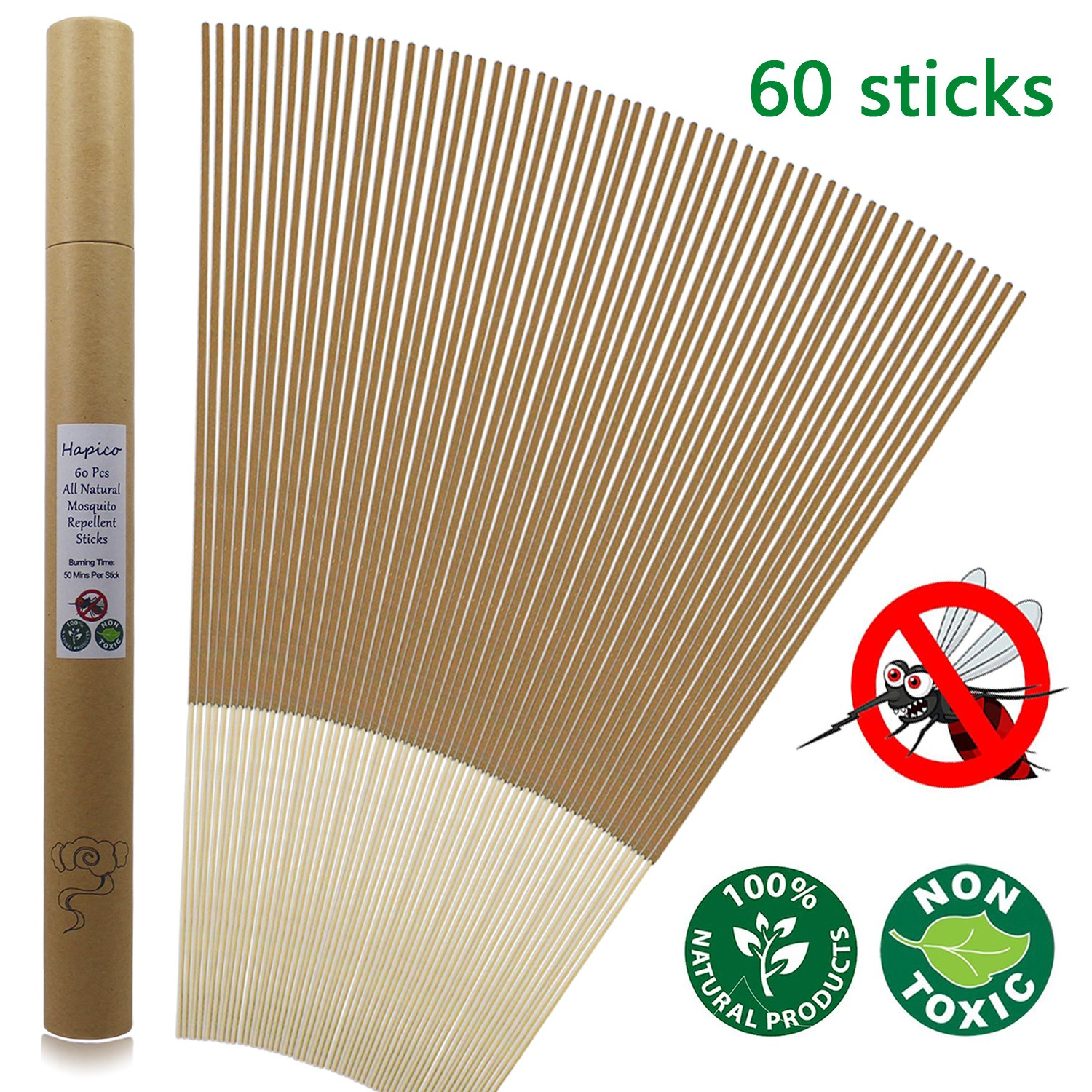 Hapico Mosquito Repellent Sticks, All Natural Citronella Mosquitoes Incense Sticks Outdoor Bug Resistant Wipes Insect- Non Toxic, Eco Friendly- Lasting 1 Hour per Stick, for Garden Yard Hiking Camping BBQ Household Use- (Pack of 60) Yingxiangyuan