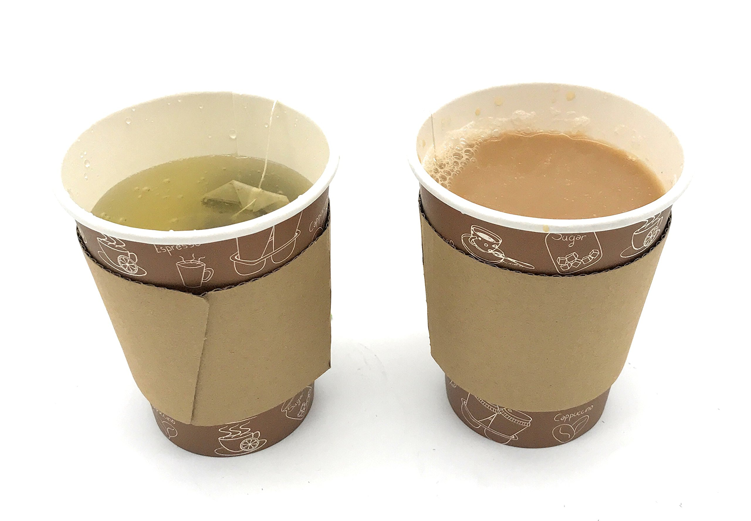 [5950 Count] Disposable Corrugated Hot Cup Sleeves Java Jackets - Natural compostable Kraft Color Cup Sleeve Protective Heat Insulation Paper Plastic Cups hot Coffee Tea Chocolate Drinks Insulated by Harvest Pack (Image #4)