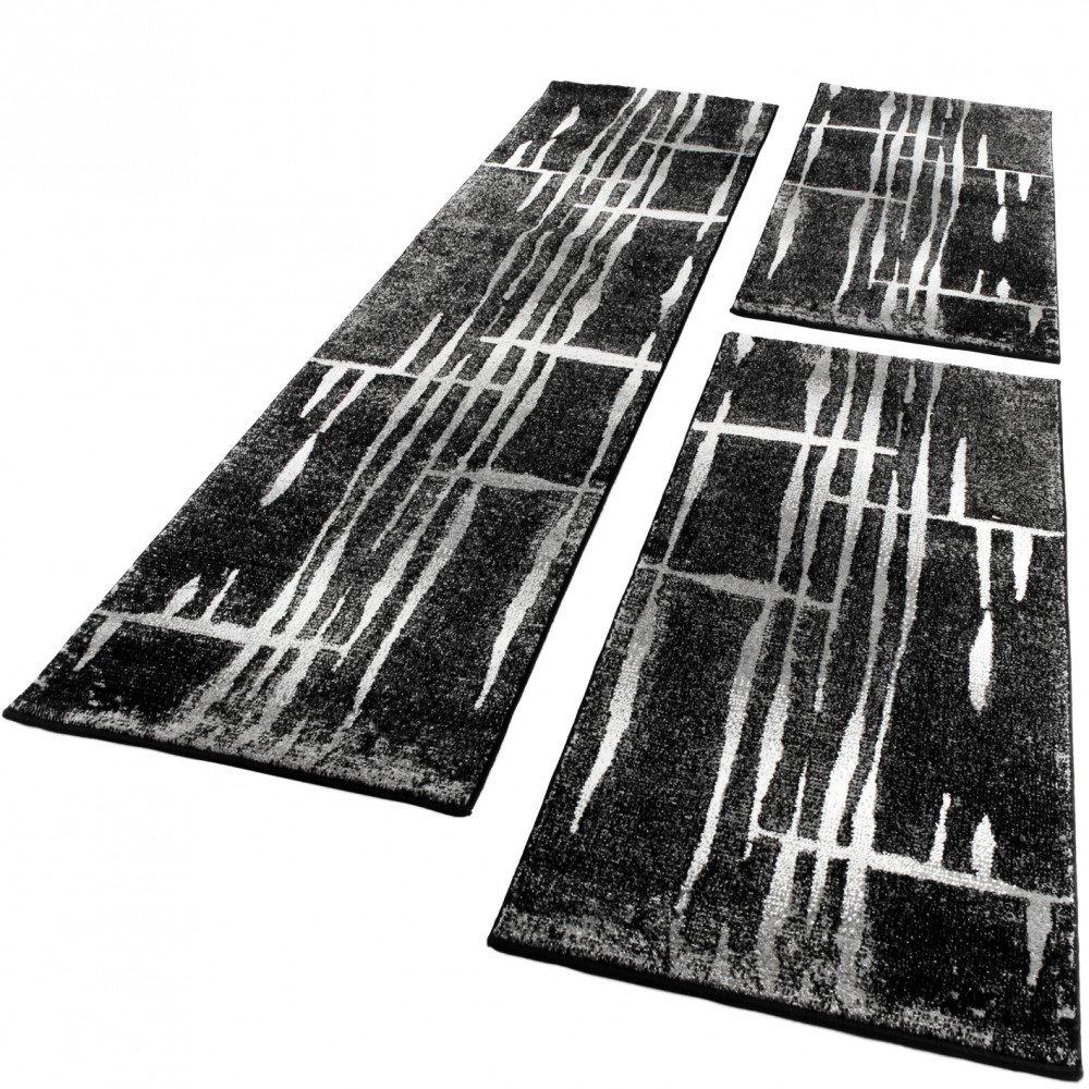 PHC Bettumrandung Läufer Teppich Meliert Design Grau Schwarz Weiss Läuferset 3 Tlg, Grösse 2mal 70x140 1mal 70x250