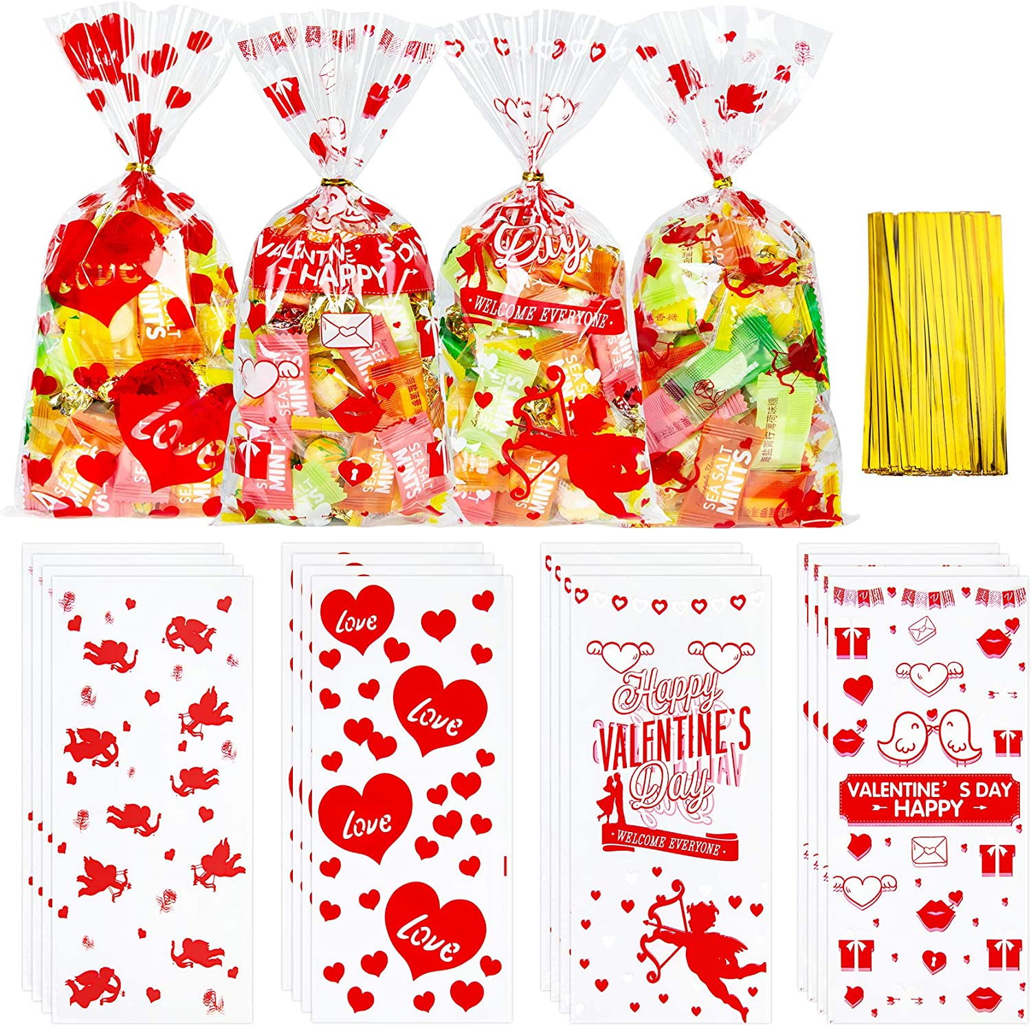 Unves 100 Pcs Valentine Treat Bags (4 Assorted Styles), Valentine Cellophane Bags Resealable for Birthday Party Wedding Baby Shower Bridal Shower Holiday Party.