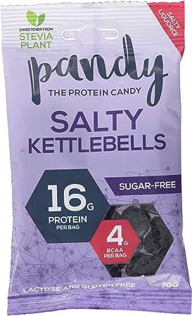 Pesa rusa Pandy Protein Salty Lakritz dulces 4 g BCAAs 16 g proteína sin azúcar Aminoácidos (12 x 70 g)