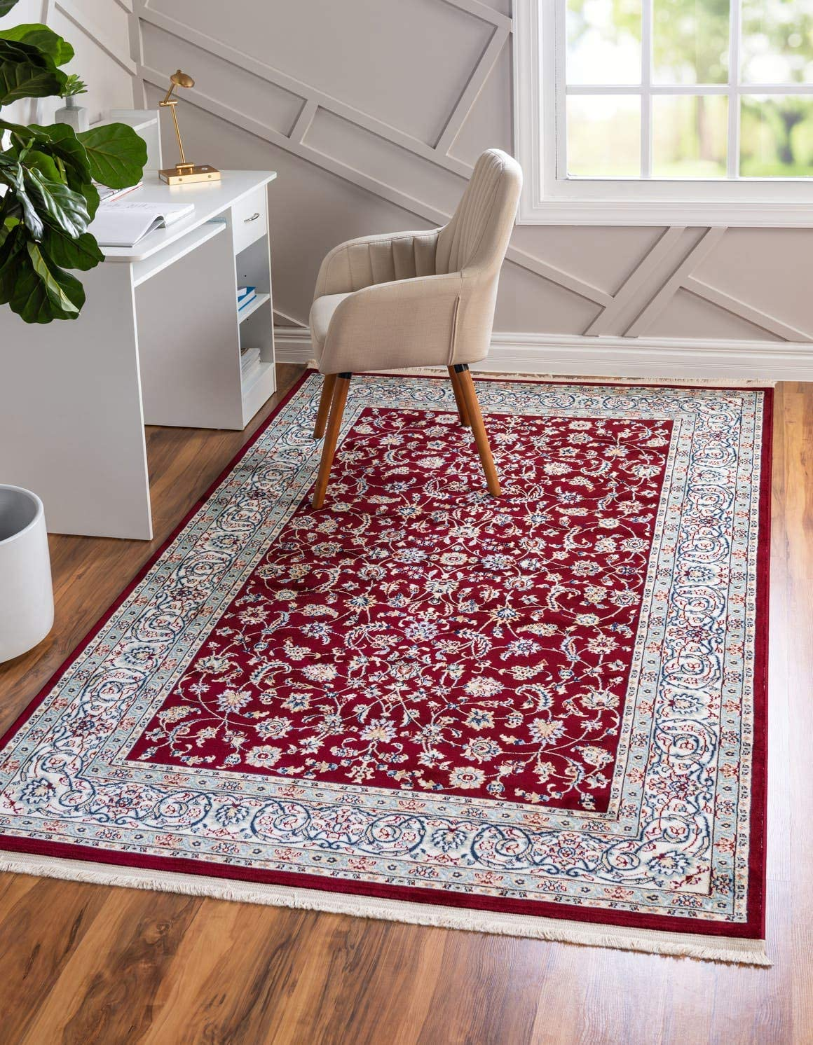 Unique Loom Narenj Collection Classic Traditional Repeating Pattern Burgundy Area Rug 5 0 x 8 0