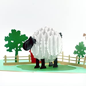 CUTEPOPUP Sheep pop up Greeting Card with Unique LAMB ON THE FARM Design, Sophisticated Details Come in Shining Envelope - The Perfect Handmade Gifts for Your Family and Your Friends on Any Occasion.