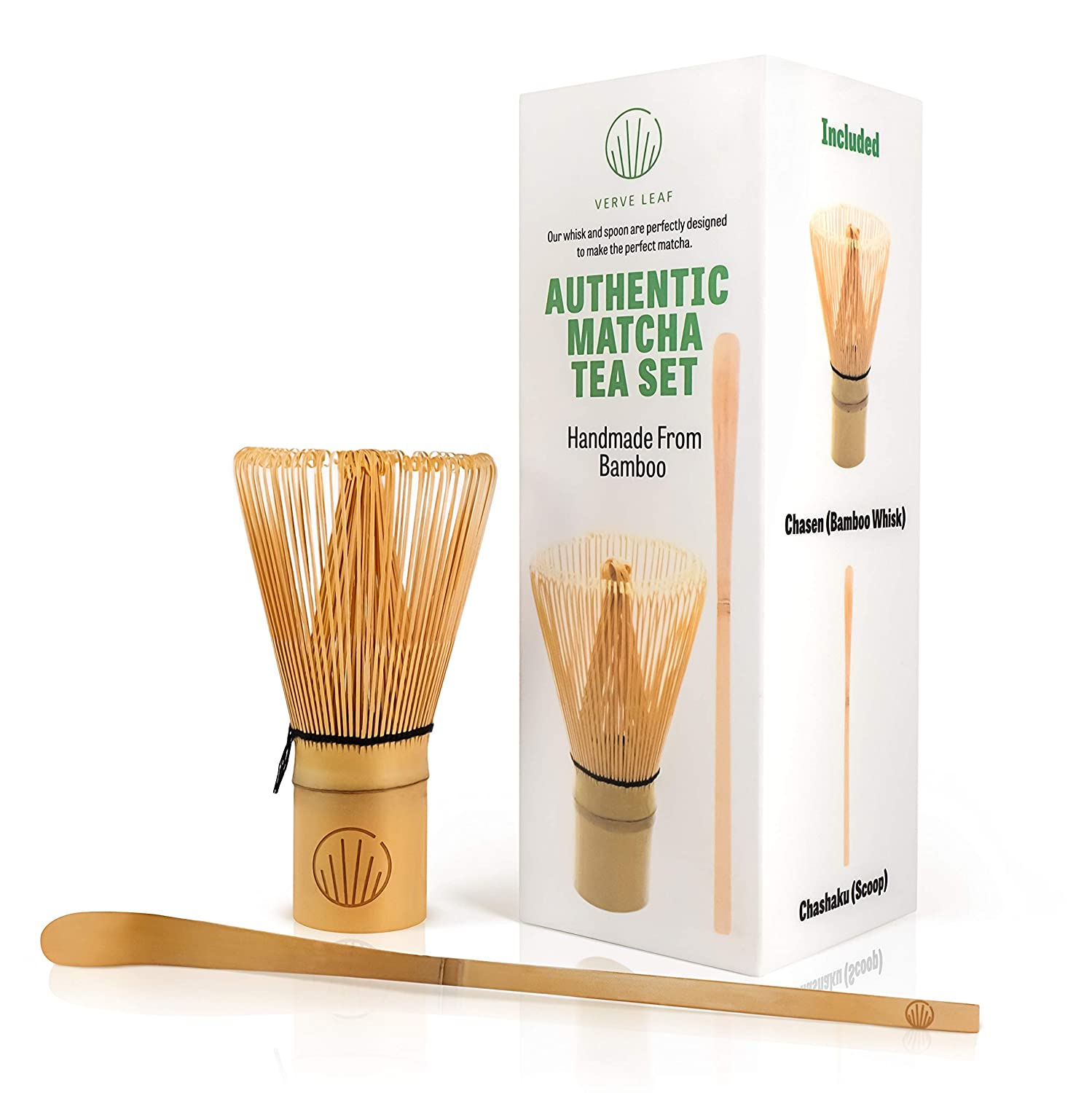 Verve leaf Bamboo Matcha Whisk & Scoop (Chasen and Chashaku) - Makes Frothy and Creamy Matcha - NO MORE CLUMPS and no more wasted matcha! JustPuriTea