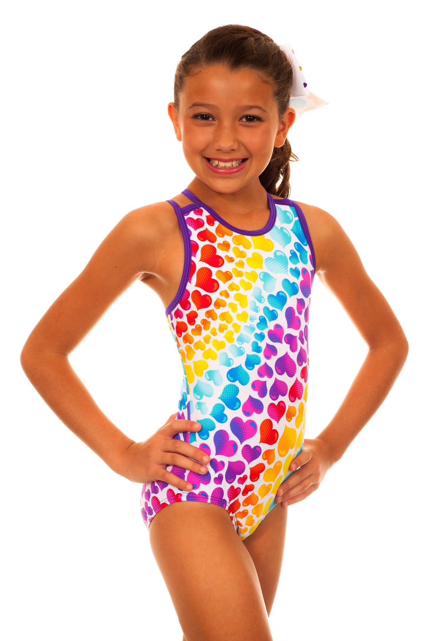 TumbleWear Girl's Caroline Love Me Leotard (Child 5-6, multi)