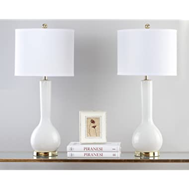 Safavieh Lighting Collection Mae Long Neck White Ceramic 30.5-inch Table Lamp (Set of 2)
