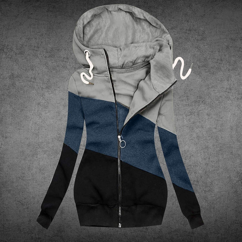 OPIAL Damen Pullover Strickjacke üBergangsjacke Jacke Pullover LäSsige ReißVerschluss-Kapuzenpullover FüR Damen Leopard Patchwork B4 Grau